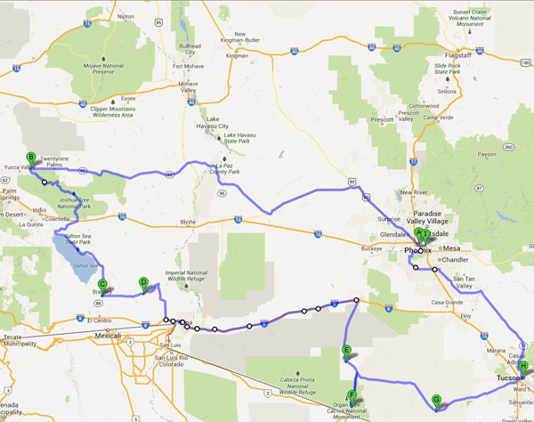 Desert Road Trip Map